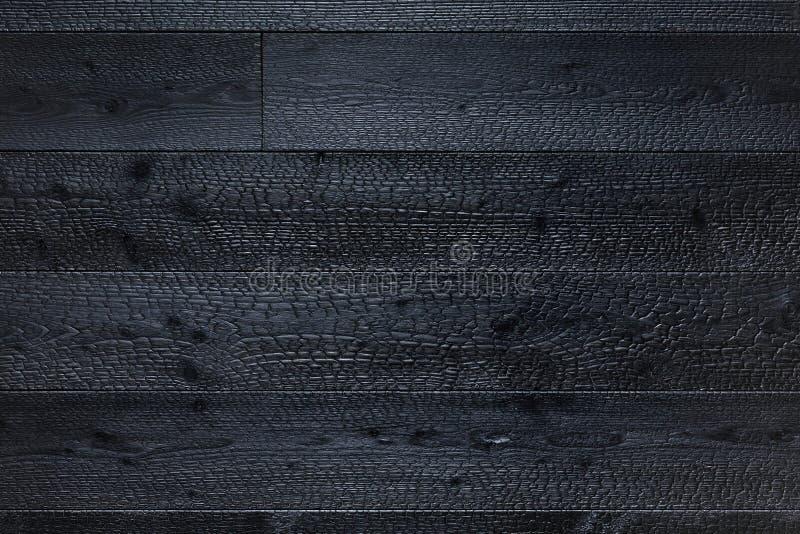 Fondo carbonizado de la textura de los tableros de madera fotos de archivo