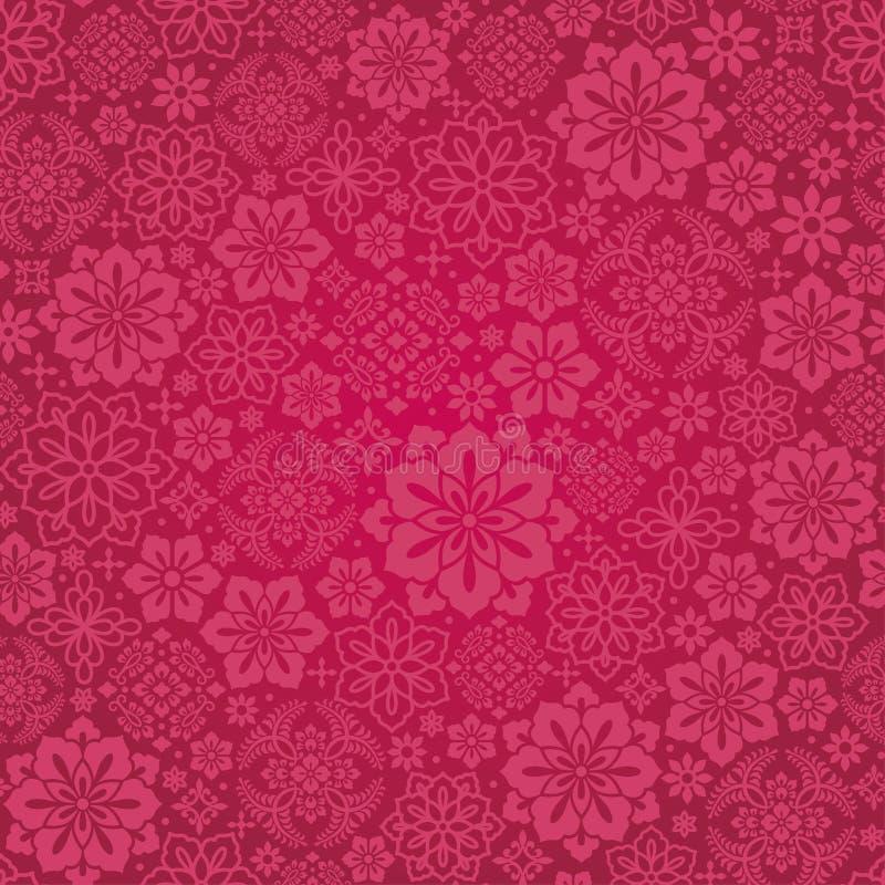 Fondo carmesí con la flor china decorativa stock de ilustración