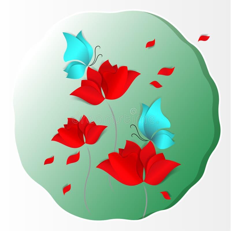 Fondo carta tagliato luminoso di verde della carta di vettore di stile 3d Fiori rossi, farfalle blu, amore, flora, progettazione, illustrazione di stock