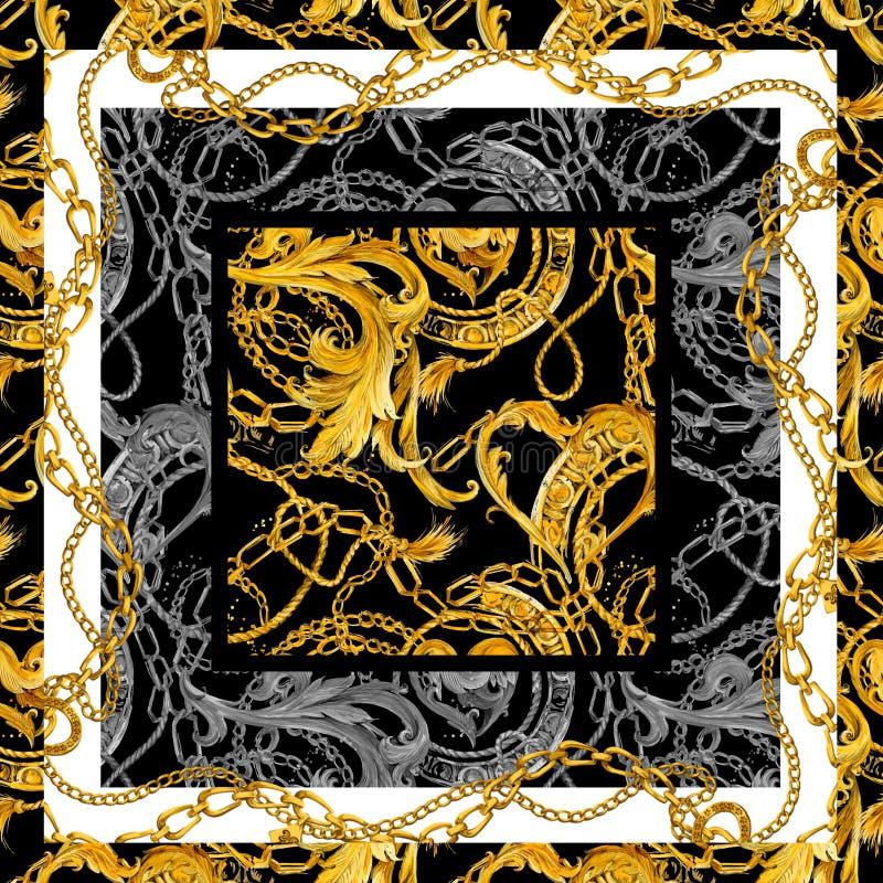 Fondo a catena dorato barrocco Cuore dorato Progettazione di amore Gioielli di lusso illustrazione di stock