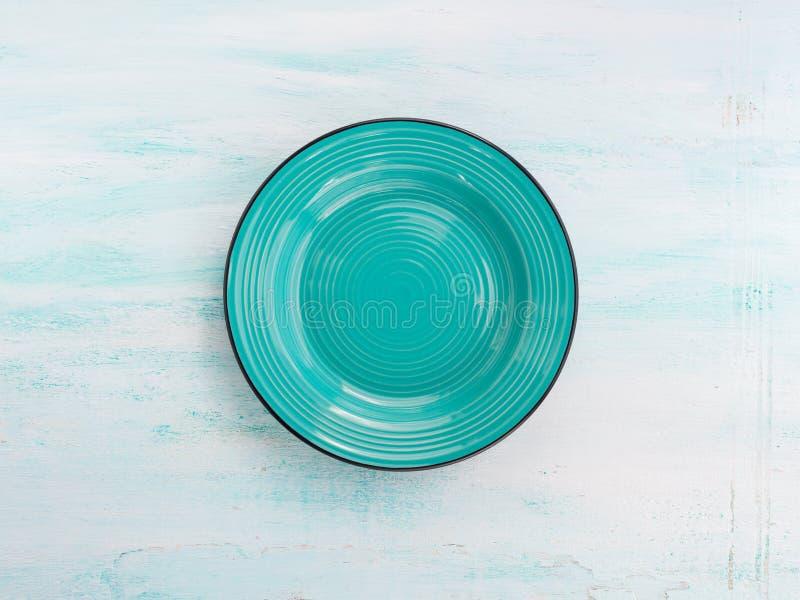 Fondo ceramico di vista superiore del piatto del piatto di colore pastello fotografia stock libera da diritti