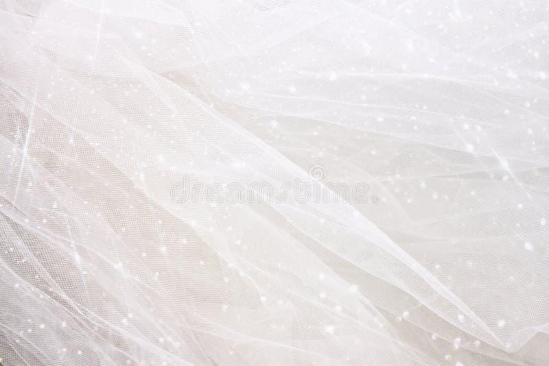 Fondo chiffon d'annata di struttura di Tulle con la sovrapposizione di scintillio Arco della stella blu con il nastro blu (involu fotografia stock libera da diritti