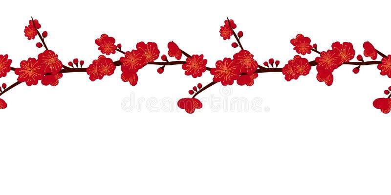 Fondo chino de estampado floral y fronteras con flor de ciruela roja, momo prunus Trazado de marco floral asiático transparente stock de ilustración