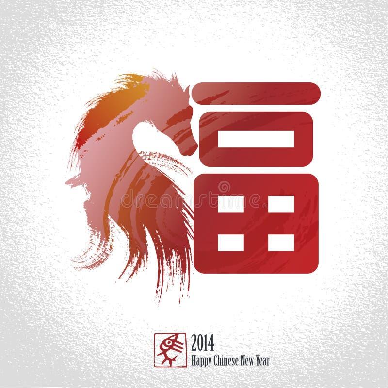 Fondo chino de la tarjeta de felicitación del Año Nuevo: Carácter chino para stock de ilustración