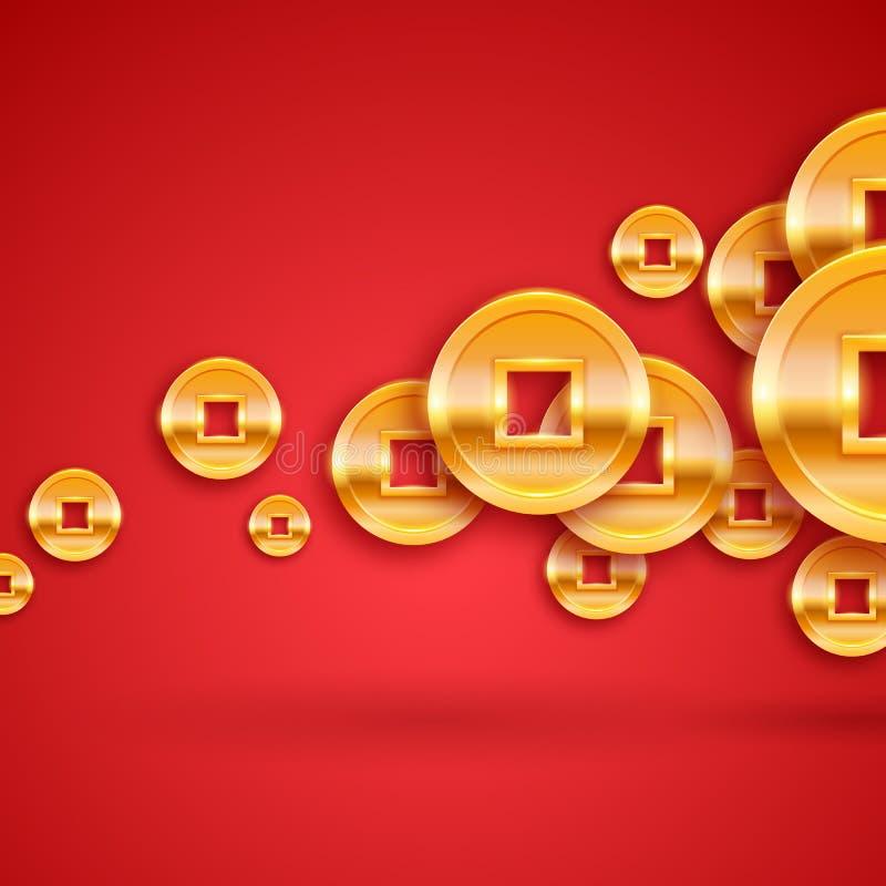Fondo chino de oro de las monedas Regalo afortunado del Año Nuevo stock de ilustración