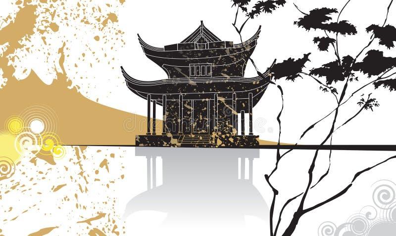 Fondo chino del extracto de la pagoda stock de ilustración