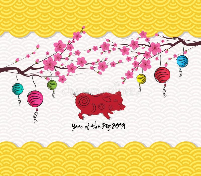 Fondo chino 2019 del modelo de la linterna del Año Nuevo Año del cerdo ilustración del vector