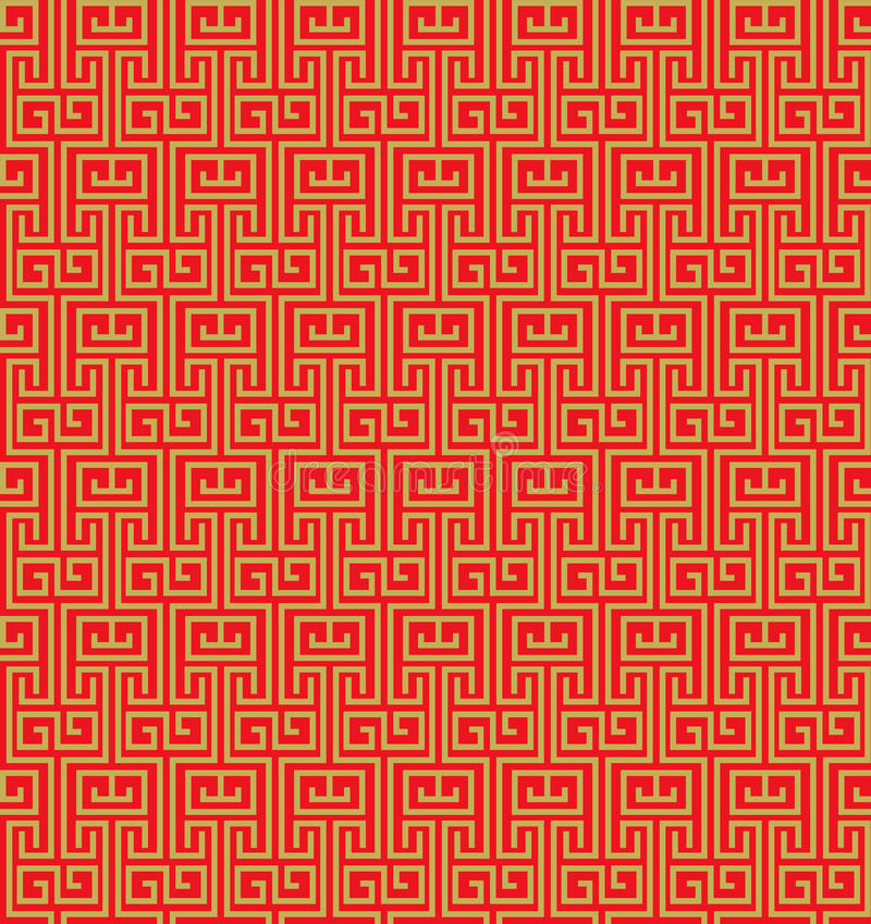 Fondo chino del modelo del tracery de la ventana del vintage inconsútil de oro ilustración del vector