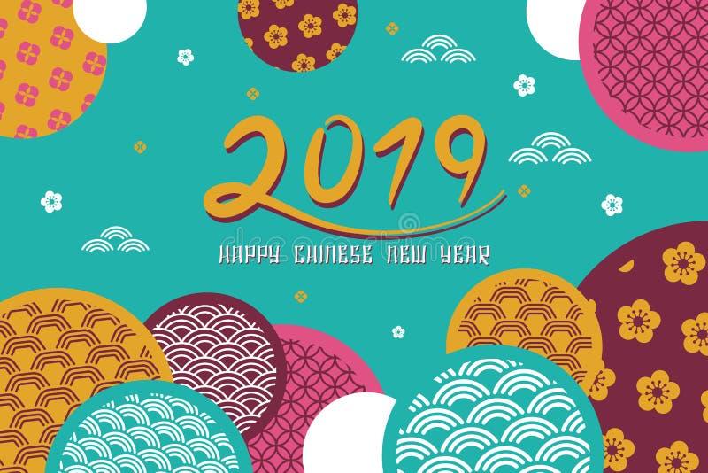 Fondo chino feliz 2019 de la bandera del Año Nuevo Ilustración del vector stock de ilustración