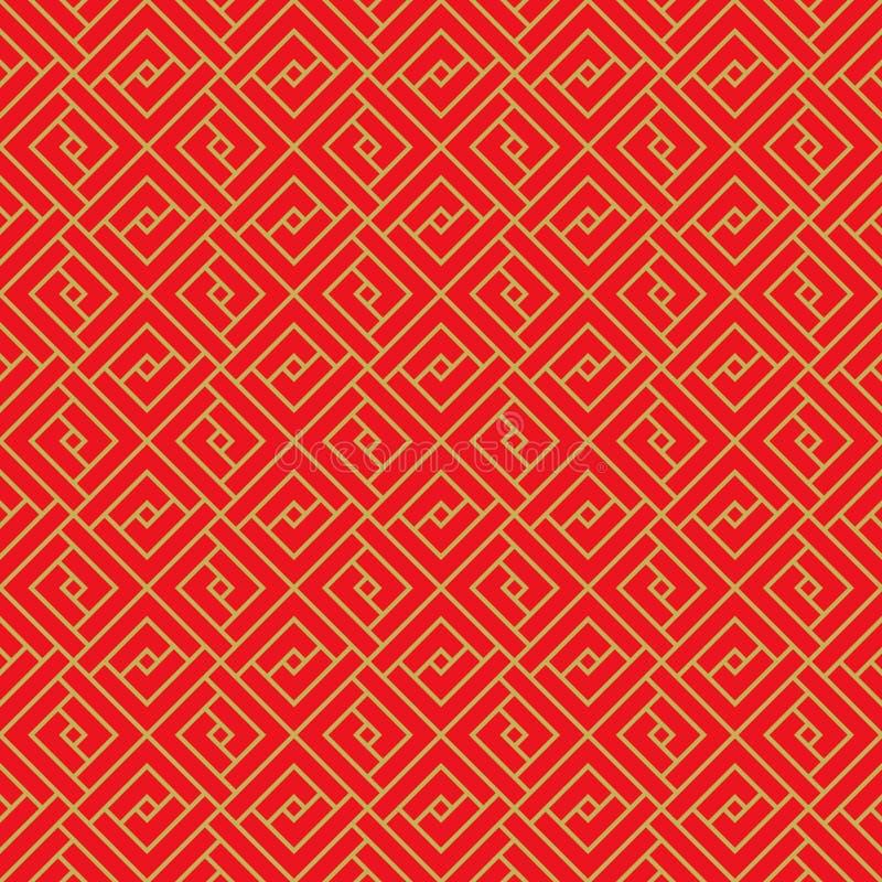 Fondo chino inconsútil de oro del modelo del cuadrado de la geometría del enrejado del tracery de la ventana stock de ilustración