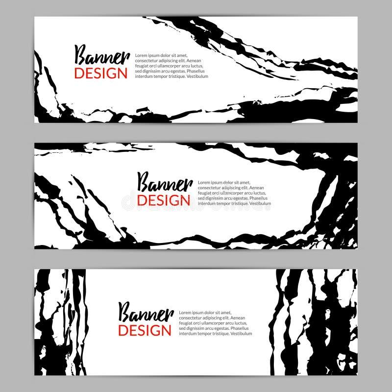 Fondo chino moderno de la bandera del vector de la tinta Plantilla áspera de la caligrafía Diseño asiático de la tarjeta o del av ilustración del vector