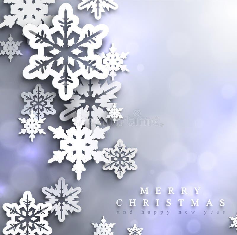 Fondo chispeante azul frío de la Navidad con los copos de nieve ilustración del vector