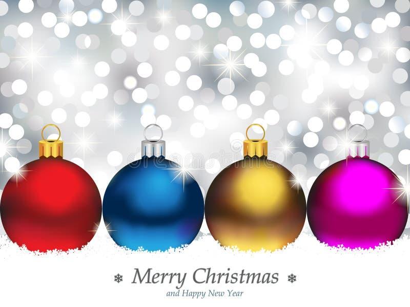 Fondo chispeante con los ornamentos de la Navidad ilustración del vector