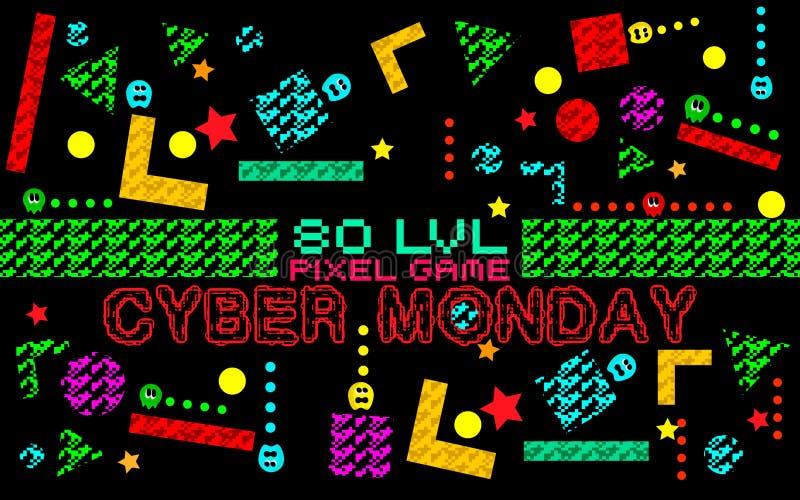 Fondo cibernético de lunes stock de ilustración