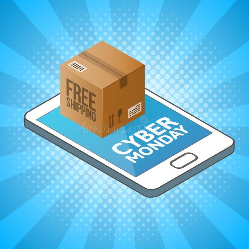 Fondo cibernético de lunes Smartphone isométrico con la caja de cartón Compras en línea, concepto libre de la entrega ilustración del vector