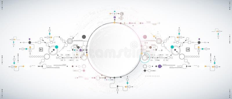 Fondo científico abstracto de la tecnología con los diversos elementos tecnológicos libre illustration