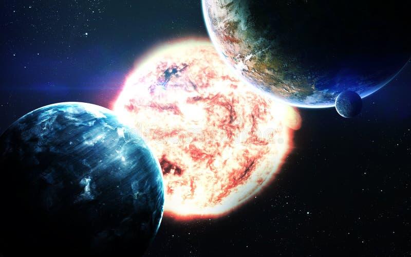 Fondo científico abstracto - planetas en espacio, nebulosa y estrellas Elementos de esta imagen equipados por la NASA de la NASA  imagen de archivo