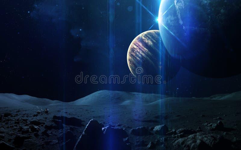 Fondo científico abstracto - planetas en espacio, nebulosa y estrellas Elementos de esta imagen equipados por la NASA de la NASA  fotografía de archivo
