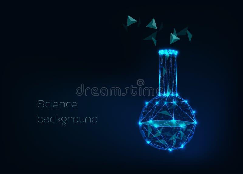 Fondo científico con el cubilete polivinílico bajo del wireframe, el tubo de los tes y el compuesto tetraédrico abstracto de la e ilustración del vector