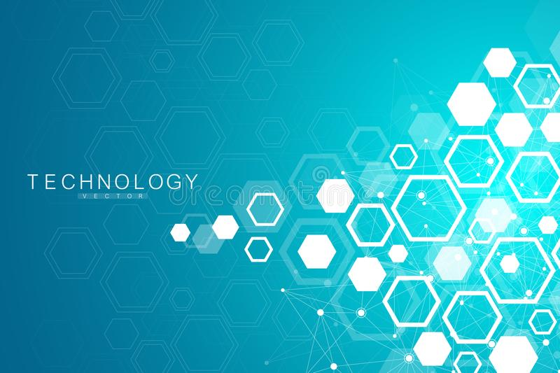 Fondo científico de la molécula para la medicina, ciencia, tecnología, química Papel pintado o bandera con las moléculas de una D libre illustration