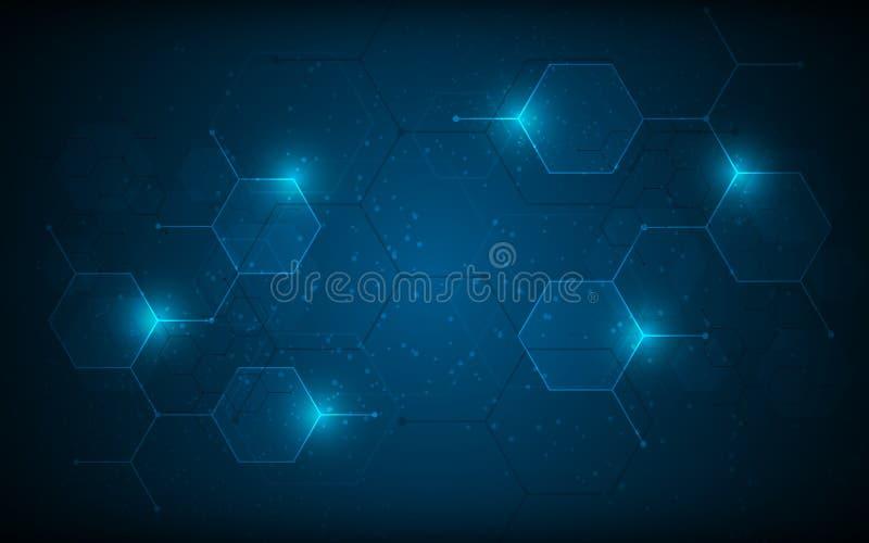 Fondo científico del concepto de la innovación de la tecnología del diseño del fi del hexágono del sci molecular abstracto del mo