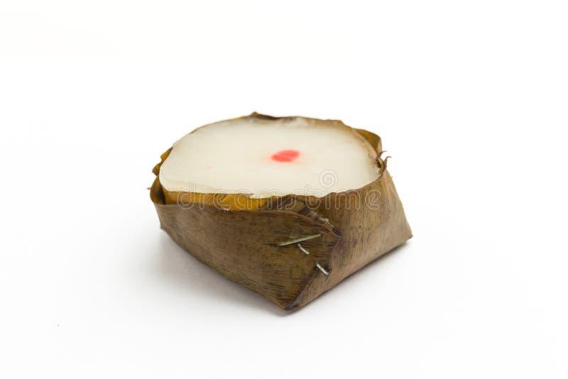 Fondo cinese di bianco dei dolci di riso del nuovo anno di Pandan e della noce di cocco immagine stock