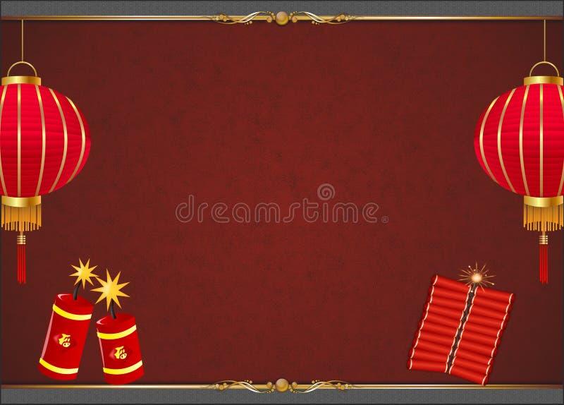 Fondo cinese di capodanno con la lanterna rossa royalty illustrazione gratis