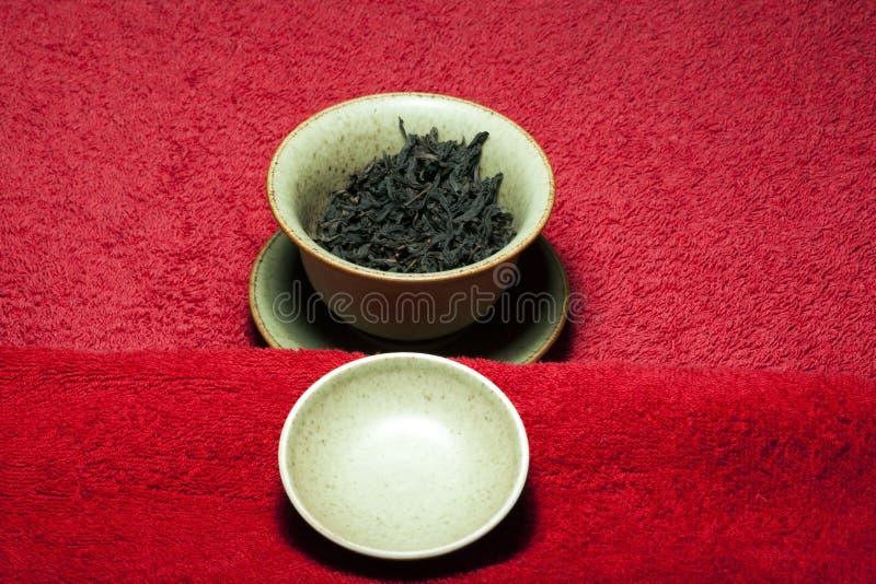 Fondo cinese nero del tappeto rosso del tè nessuno immagini stock