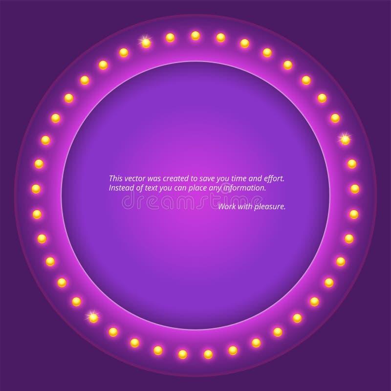 Fondo circular retro con las bombillas Letrero retro del círculo del elemento del diseño ilustración del vector