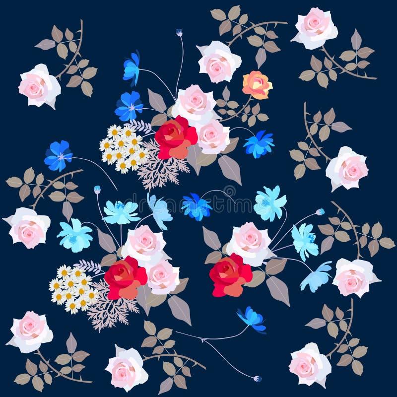 Fondo clásico con las flores que cultivan un huerto Impresión sin fin para la tela stock de ilustración