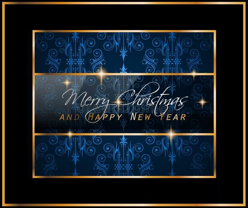 Fondo clásico del vintage de la Navidad con las bolas y las luces de la estrella ilustración del vector