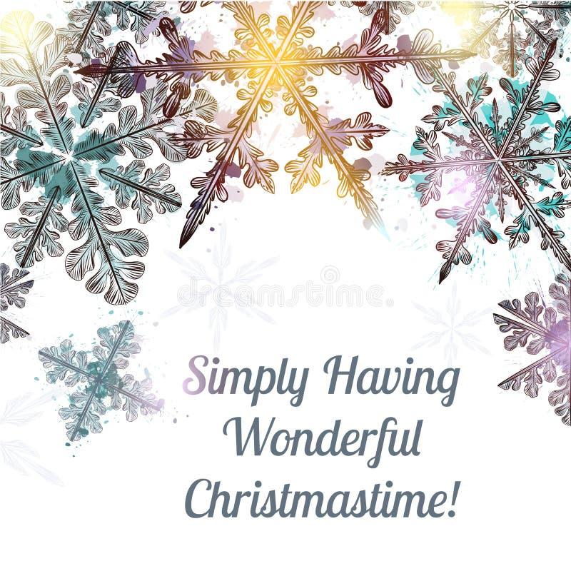 Fondo claro de la Navidad con los copos de nieve dibujados mano stock de ilustración