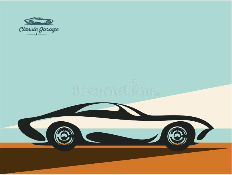 Fondo classico di vettore dell'automobile sportiva, modello di progettazione dell'automobile di vettore, manifesto dell'automobil illustrazione vettoriale
