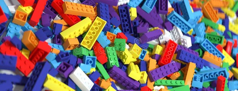 Fondo colorato dei mattoni del giocattolo Colori del Rainbow rappresentazione 3d royalty illustrazione gratis