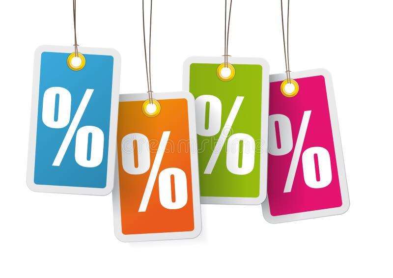 Fondo colorato di bianco delle 4 di prezzi percentuali dell'autoadesivo illustrazione vettoriale