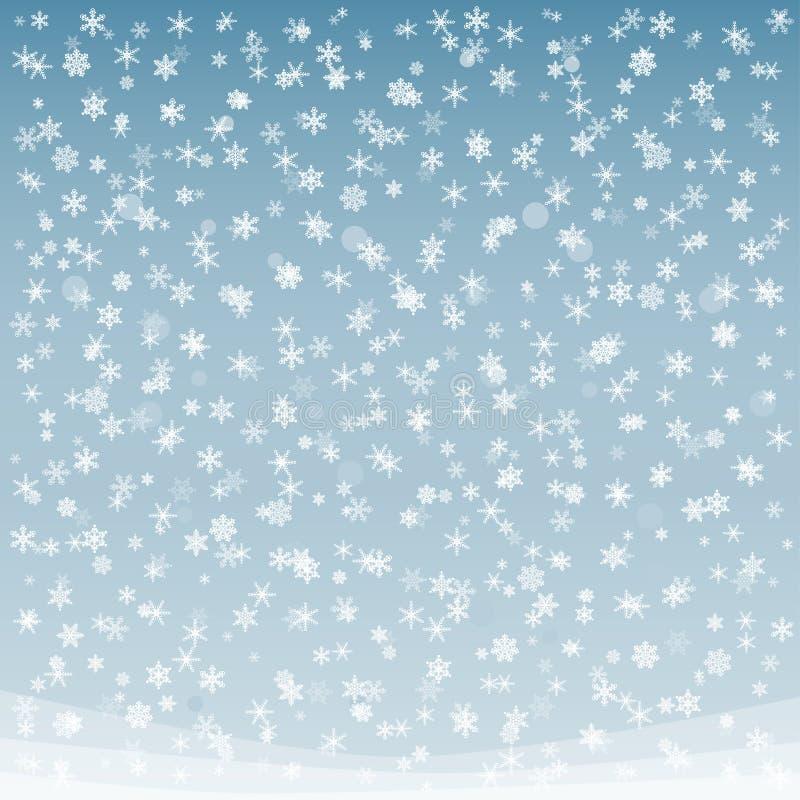 Fondo colorato morbidezza del fiocco di neve di inverno illustrazione vettoriale