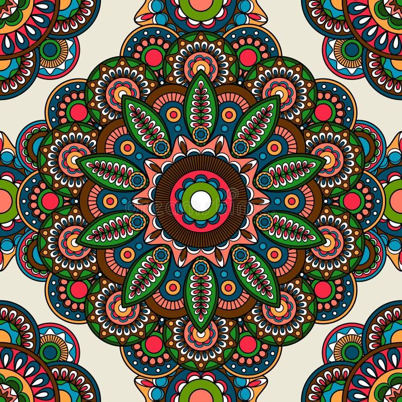 Fondo colorato senza cuciture floreale di mehendi indiano illustrazione vettoriale
