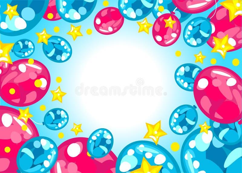 Fondo coloreado brillante del feliz cumpleaños de los globos stock de ilustración