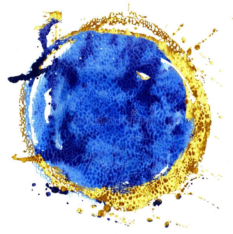 Fondo coloreado de la acuarela Círculo del azul y del oro libre illustration