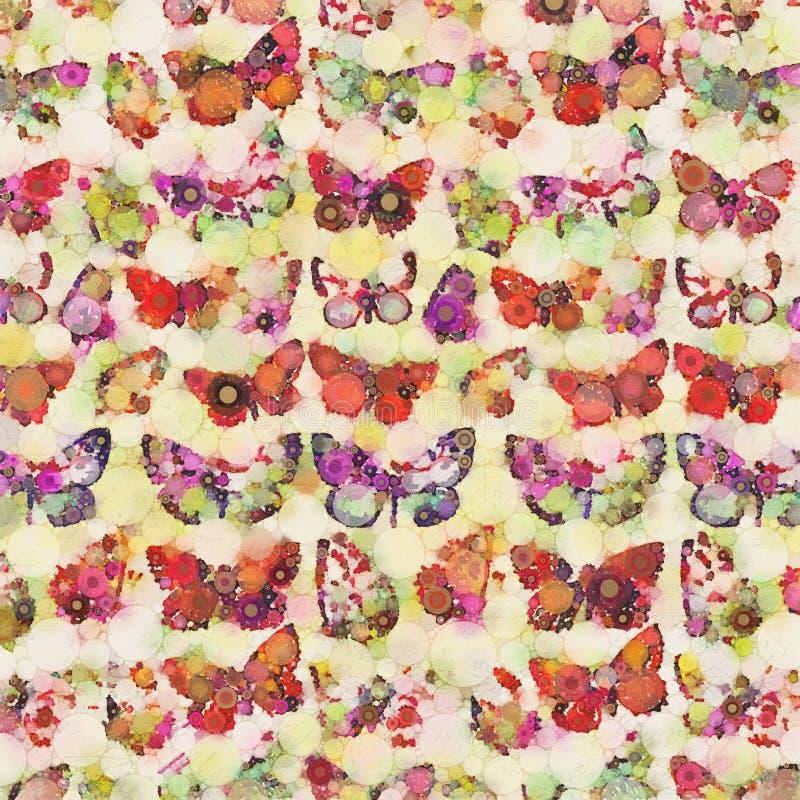 Fondo coloreado multi del collage de la mariposa de la acuarela ilustración del vector