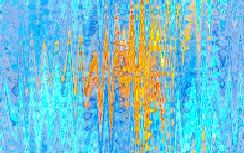 Fondo colorido abstracto azul y amarillo del fractal stock de ilustración
