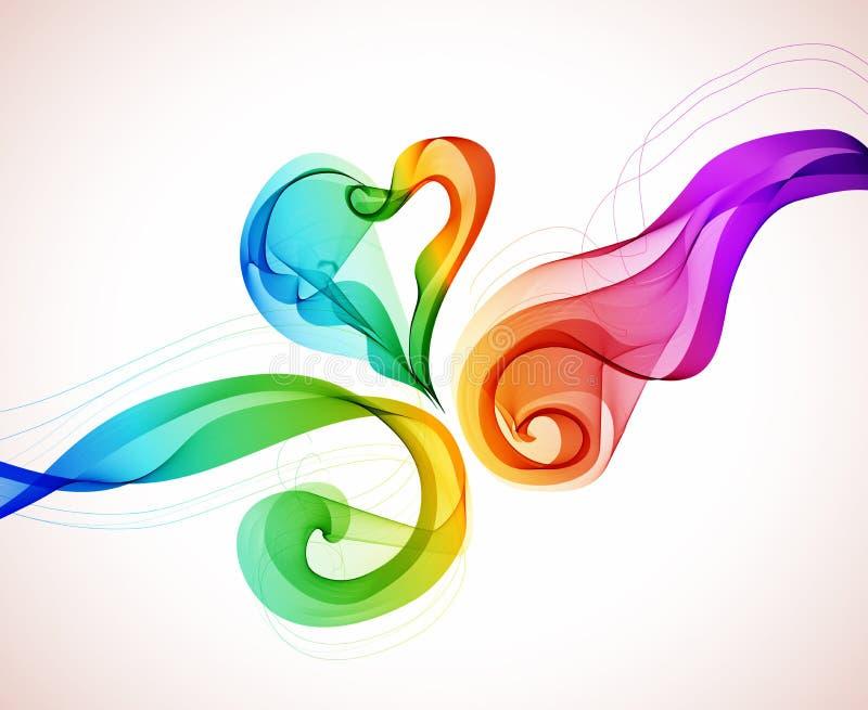 Fondo colorido abstracto con la onda y el corazón stock de ilustración