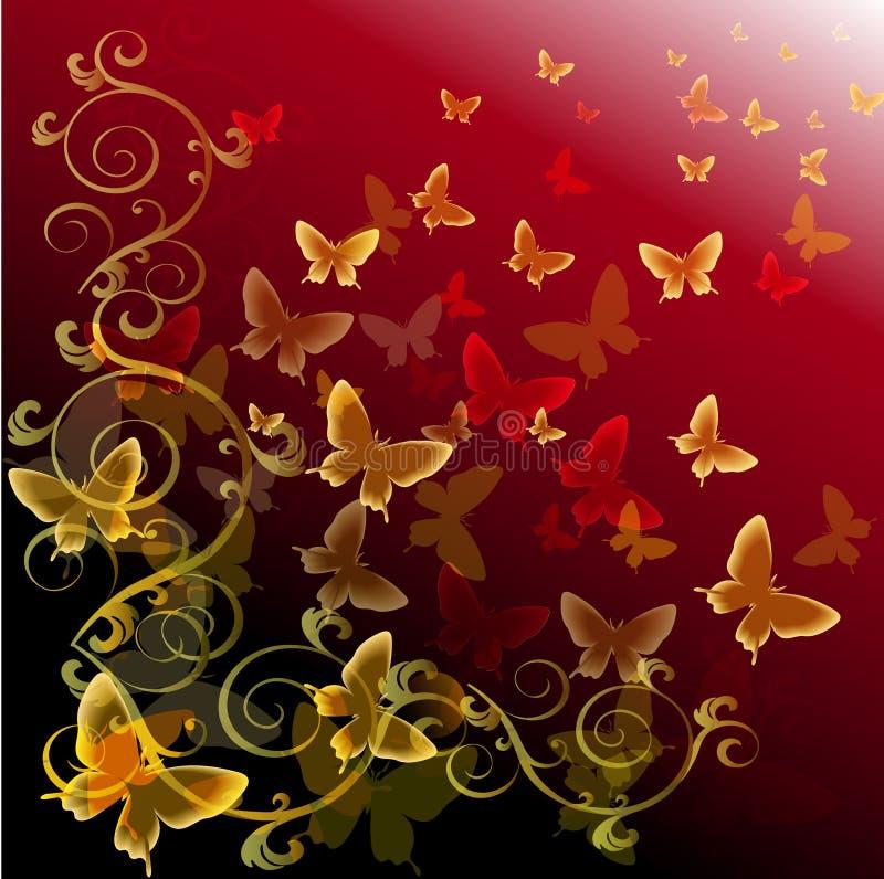 Fondo colorido abstracto con las mariposas libre illustration