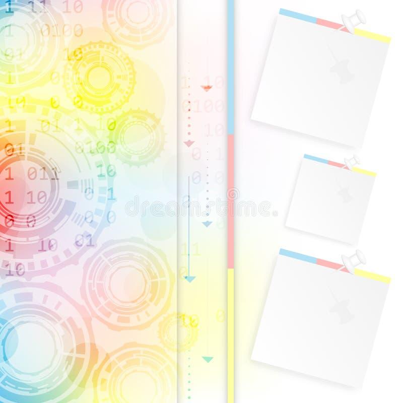 Fondo colorido abstracto con las ruedas, la flecha y el perno de engranaje con el papel stock de ilustración