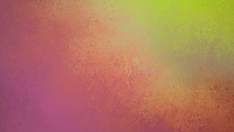 Fondo colorido abstracto con viejo diseño limpiado con esponja y manchado de la pintura, verde rosado y amarillo púrpuras ilustración del vector