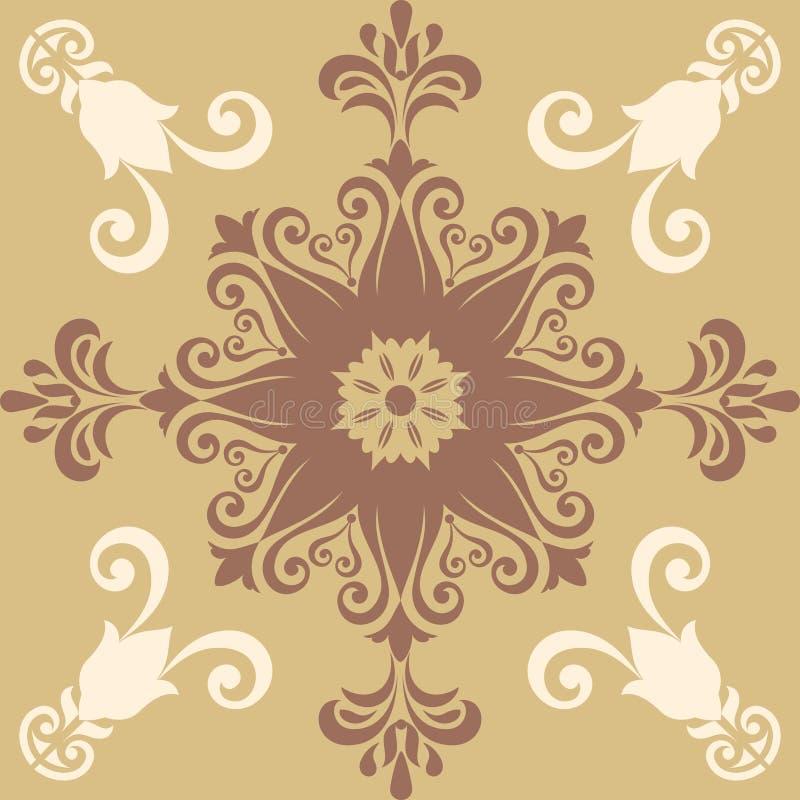 Fondo colorido abstracto decorativo, estampado de flores geométrico cuadrado con el marco adornado del cordón, ornamento étnico t ilustración del vector