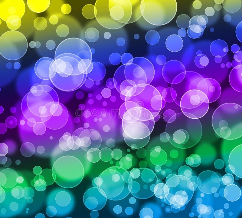 Fondo colorido abstracto del brillo del bokeh, azul, ciánico, verde, amarillo, púrpura, violeta stock de ilustración