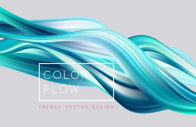 Fondo colorido abstracto del vector, onda l?quida del flujo del color para el folleto del dise?o, sitio web, aviador stock de ilustración