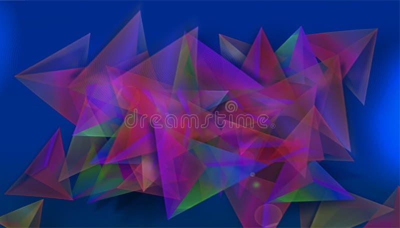 Fondo colorido abstracto en formas geométricas, con el azul en la parte inferior absoluta del ejemplo ilustración del vector