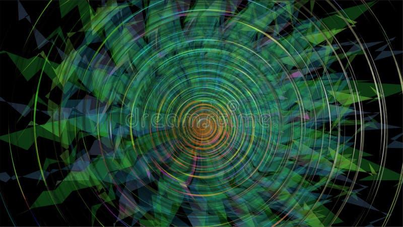 Fondo colorido abstracto en zigzag y espiral, con el azul en la parte inferior absoluta del ejemplo libre illustration